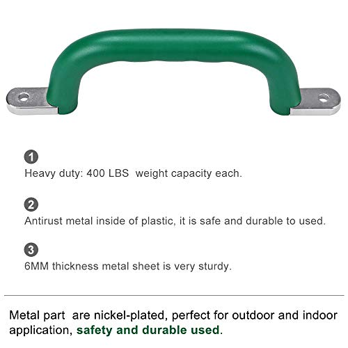 "SELEWARE 800 LBS Capacity Set of 2 Safety Playground Handles, Metal Grab Handle Bars 9.64"" Hand Grips with Finger indentations for Kids Swing Set, Playset, Climbing Frame, Play House Handles, Green"