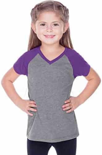 137cb079 Kavio Little Girls 3-6X Sheer Jersey Contrast V Neck Raglan Short Sleeve