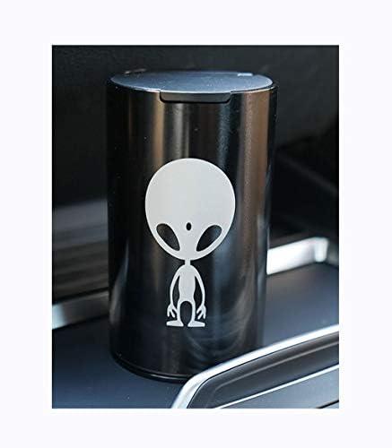車の灰皿電気めっきアルミ合金カーデュアル使用の灰皿 (Color : Black)