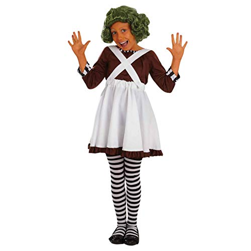 fun shack Girls Oompa Loompa Costume Kids Chocolate Factory Worker Outfit - Small -