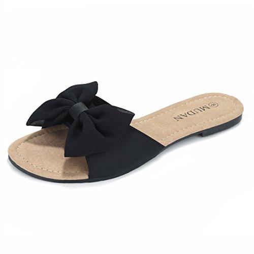 MuDan Women's Floral Flat Sandals (8 B (M) US, Black)