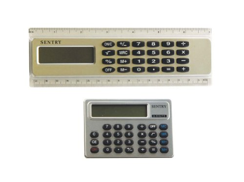 Sentry Calculators 2-Pack, Ruler and Credit Card Styles, Silver (CAPD4)