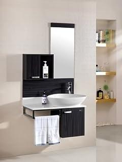 mobile arredo bagno 80cm moderno sospeso weng grigio con lavabo dappoggio mobili