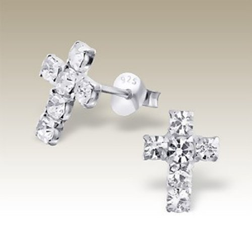 Tiny Cross Silver Earrings White Clear Crystals Sterling Silver 925 (E16467) by PTN Silver Jewelry (Image #1)