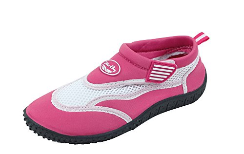 New Kids Water Shoes - Sunville Brand New Kids Slip-On Athletic Fuchsia Water Shoes/Aqua Socks,4 Big Kid