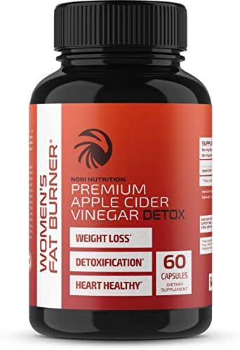 Nobi Nutrition Apple Cider Vinegar Fat Burner Pills for Women - Premium Weight Loss Supplement - Womens Metabolism Booster & Appetite Suppressant - Thermogenic Diet Pills - 60 Veggie Capsules