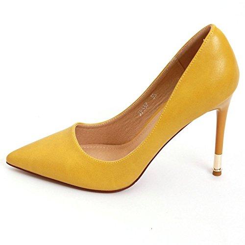 YMFIE Multa Europea con el Color sólido Acentuado del Charol del Color de la charca de la Boca Baja Temperamento de la Moda Zapatos de tacón Alto Solos Zapatos de Trabajo yellow