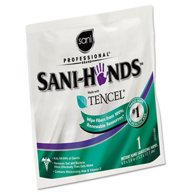 Sani Professional quot;Sani-Hands Sanitizing Wipes with Tencel, White, 5 x 7 3/4, 3000 Packets/Cartonquot; Includes 3000 individually wrapped wipes Unit of measure: CT, Manufacturer Part Number: D33333