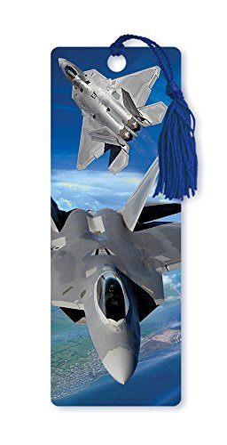 Dimension 9 3D Lenticular Bookmark with Tassel, U.S. Air Force F-22 Raptor Fighter Jets (LBM076) ()