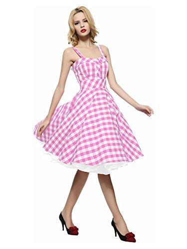 Maggie Tang Women's 1950s Vintage Rockabilly Dress Pink Checks Size 2XL (Pink Gingham Dress)