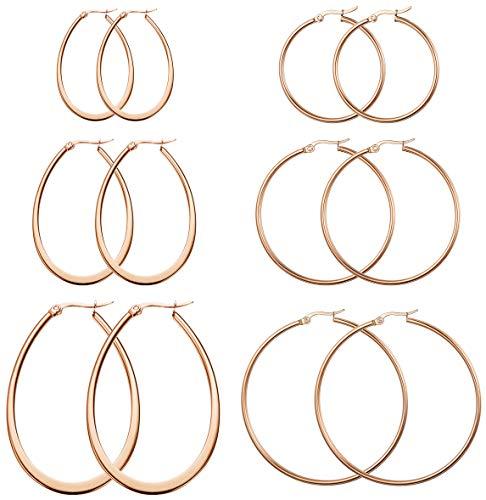 FIBO STEEL 6 Pairs Hoop Earrings for Women Girls Teardrop Hoop Earrings Set 40-60MM Rose Gold-tone