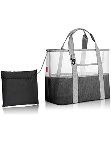 0459bd5646 YOOFAN Beach Tote Bag- Mesh Wet Sports Gear Shoulder Bag Waterproof Duffle  Shopping Handbag for