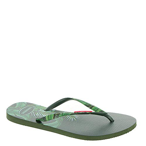 Havaianas Women's Slim Sensation Sandal Olive Green 41-42 M - Havaianas Sandals Embossed