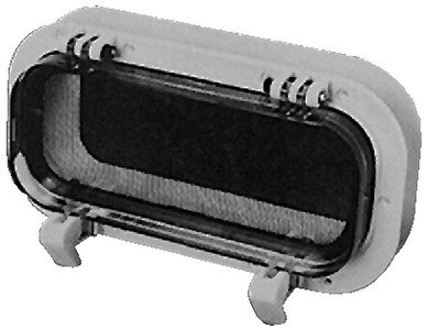 Beckson Self Drain Opening Ports 4 x 10 Portlight (White with Clear Lens)