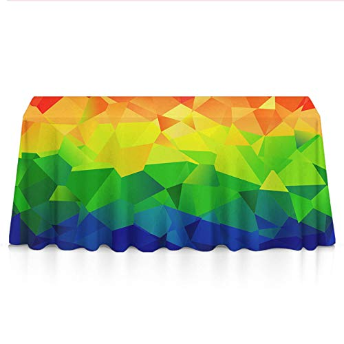 GLORY ART Waterproof Tablecloth,Polygonal Geometric Rainbow,Large Dust-Proof Vinyl Table Cloth Cover, Great for Dinner,Wedding,Patio,Parties,Holiday Dinner,Buffet Table& More(60