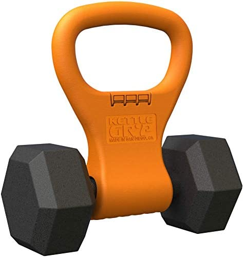 Kettle Gryp – Kettlebell Adjustable Portable Weight Grip Travel Workout Equipment Gear for Gym Bag, Crossfit WOD, Weightlifting, Bodybuilding, Lose Weight | Clamps to Dumbbells | Made in U.S.A.