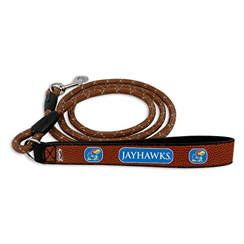 GameWear NCAA Kansas Jayhawks Football Leather Rope Leash, Medium, Brown -