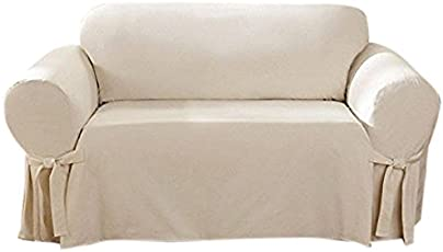 sure fit cotton duck loveseat slipcover natural sf26807