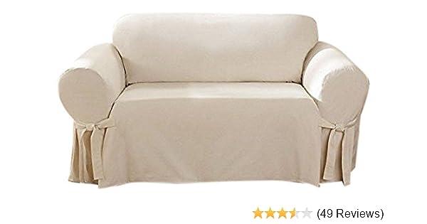 Amazon Com Surefit Cotton Duck Loveseat Slipcover Natural