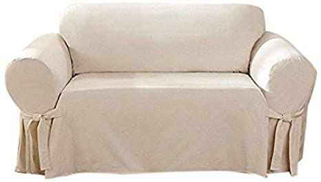 SureFit Cotton Duck   Loveseat Slipcover   Natural (SF26807)