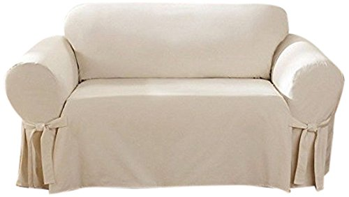 SureFit Cotton Duck - Loveseat Slipcover - Natural