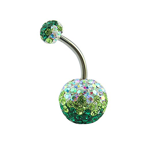 Pretty Belly Button Ring with Gradual Color Crystal Ferido Ball Navel Ring for Women/Girl (Green) ()