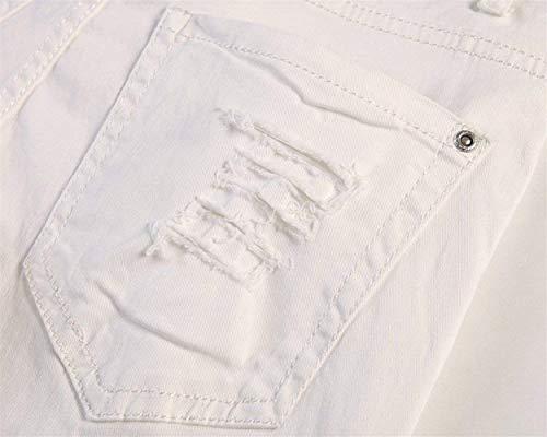 T Pantalones Vaqueros Color Hombres Ripped Slim Sólido Fit Moda Pierna De Holes Blanco La Retros Battercake Los Cómodo Udq8w8X
