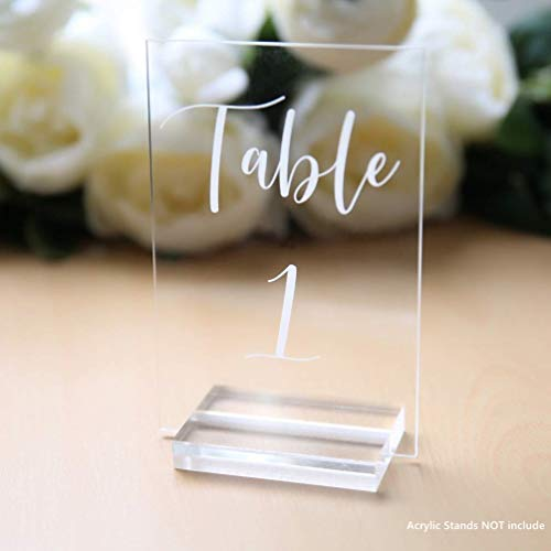 UNIQOOO Acrylic Wedding Table Numbers 1-20   4x6 Printed Calligraphy, Clear Table Number Signs   Perfect for Christmas Party and Dinners, Reception, Centerpiece Decoration, Event, Base NOT Included