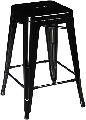 Pioneer Square Haley 24-Inch Backless Square-Seated Counter-Height Metal Stool, Set of 4 - Jet Black (Stools Bar Black Square)