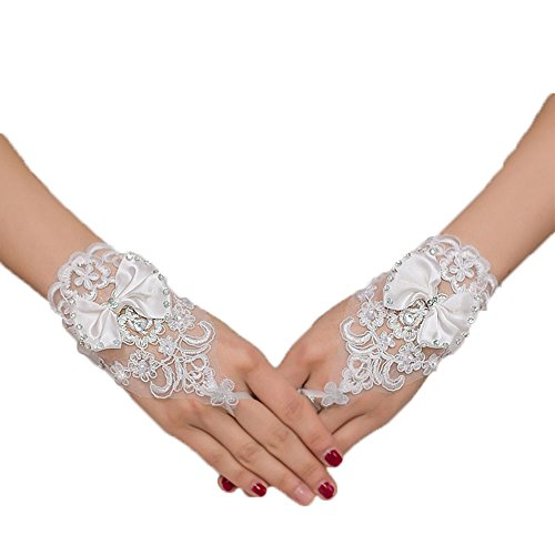 Beautydress Women's Crystals Short Fingerless Gloves Wedding Formal Accessory 154