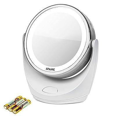 Espejo de Maquillaje Iluminado de aumento 5x / 1x Espejo con Luz 360 grados de rotación ajustable para maquillaje cosmético, afeitado y viaje