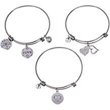 Silver Plated Stainless Steel Expandable Charm Bracelet Bangle - The Power of Love - Set of 3