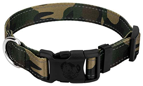 Country Brook Petz | Deluxe Woodland Camo Reflective Dog Collar - Medium ()