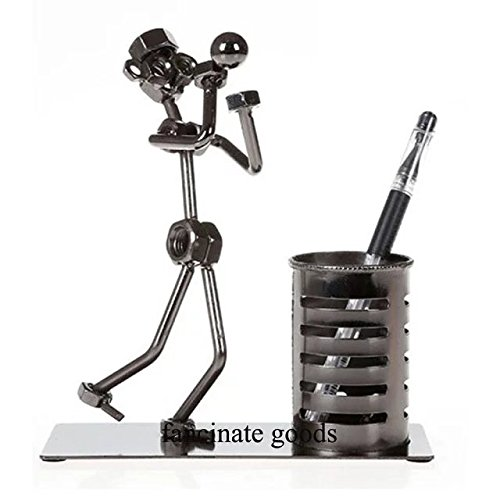 (Nuts & Bolts Sculpture Metal Basketball Player Statues and Figurines Desktop Pen Holder - 6.69 x 2.75 x 6.29 Inch)