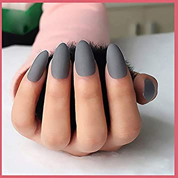 Amazon.com: 24Pcs/Set Matte Designed Acrylic Nails Almond Short Fake Nails Art Full Cover Siletto Nails UV Gel Soft Grey False Nail Tips 1: Beauty