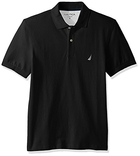Nautica Men's Short Sleeve Solid Cotton Pique Polo Shirt, True Black, Medium (Mens Polo Solid Pique)