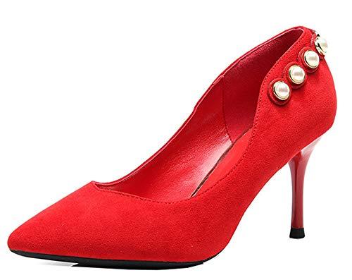 Chaussure Perles Talon Rouge EU Escarpins 32 Femme d'automne Aiguille Easemax Elégant 1xEtwAxf