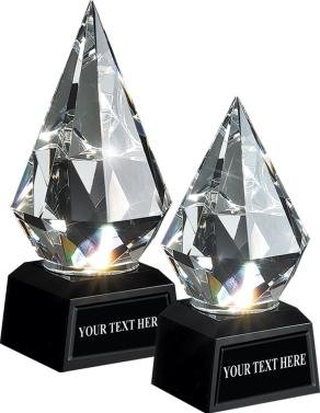 Diamond Trophy Award Crystal - Diamond Crystal Trophy