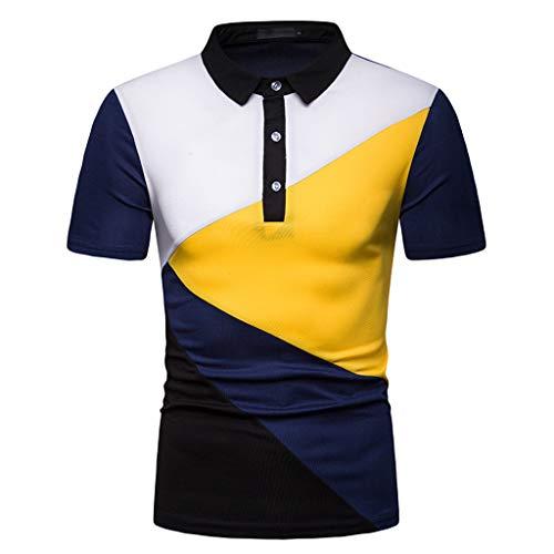 TANGSen Fashion Men's Casual Top Short Sleeve Spring Summer Button Patchwork Shirt Tops Polo Blouse Navy