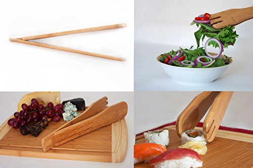 Show #1 Perfect Wedding, Housewarming, or Birthday Gift Set | Bamboo Cutting Board with Best 3-Piece Kitchen and Cooking Wood Utensils | Wooden Spoon, Salad Tongs & Spatula price