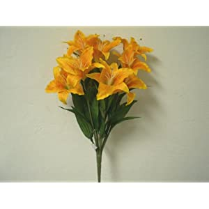 """ORANGE YELLOW Large Tiger Lily Bush Artificial Silk Flowers 18"""" Bouquet 9-687ORYL 118"""