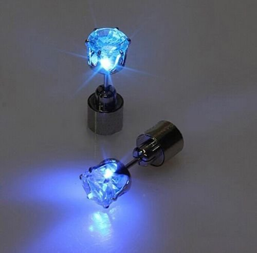 Price comparison product image IC ICLOVER 1 Pair LED Earrings Glowing Light Up Diamond Crown Ear Drop Pendant Stud Stainless Multi-color for Party Hallowmas Thanksgiving Day Christmas -Blue