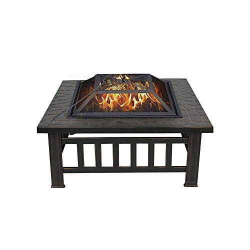 Nova Microdermabrasion 32 Outdoor Fire Pit Square Metal Firepit Backyard Patio Garden Stove Fireplace with Weather Resistant Cover Poker