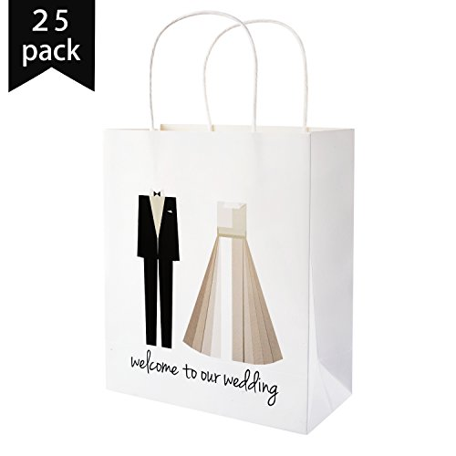 Crisky Welcome to Our Wedding Bags 25 pcs Welcome Wedding Bags for Hotel Guests, Candy Buffet Bags, Favor Bags (Bag Recycled Weekend)