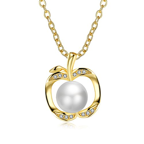 BLOOMCHARM Love Apple Pearl Necklace Gold Pendant for Girls Women Jewelry