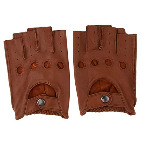 Fityle Men Women Goth Thin Faux Leather Fingerless Driving Cycling Short Gym Gloves Birthday Gift - Brown Button, L