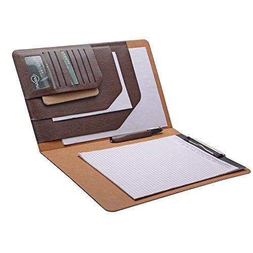 Folio Cover Case with Spring Clip Pad for Organizing Loose Documents Notepad,Writing Pad,Presentation Folder,Coffee - Leather Legal Document