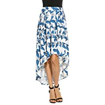 Zeagoo High-Low Blue And Ivory Floral Print Pleated Long Skater Skirt(Red,Blue)