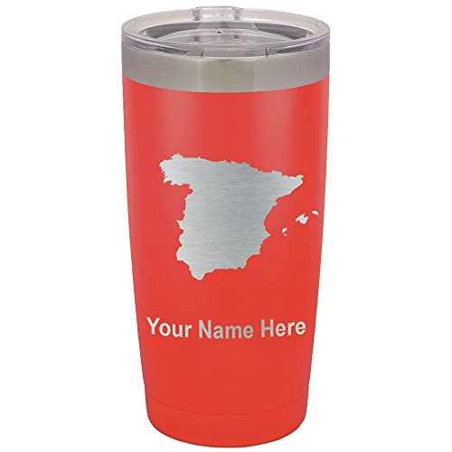 20oz Tumbler Mug, Country Silhouette Spain, Personalized Engraving Included (Red) by SkunkWerkz
