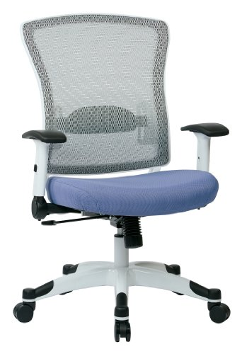 (SPACE Seating Breathable Mesh Back and Padded Mesh Seat, Adjustable Arms, Tilt Tension and Lumbar Support with White Coated Nylon Frame Managers Chair, Violet)